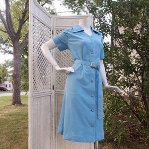 70s Baby Blue Japanese Vintage Shirt Dress